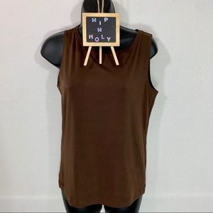 CHICO'S ADDITIONS BROWN SCOOP NECK TANK TOP 1